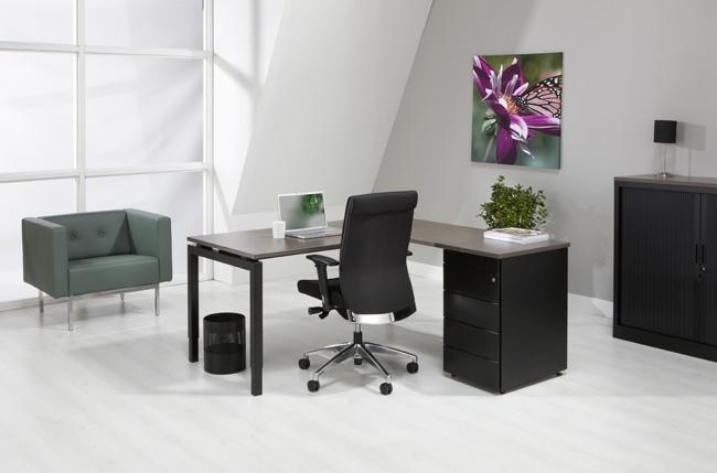 4q1845z n aro line bureau met ladenblok black 180 x160cm. Black Bedroom Furniture Sets. Home Design Ideas